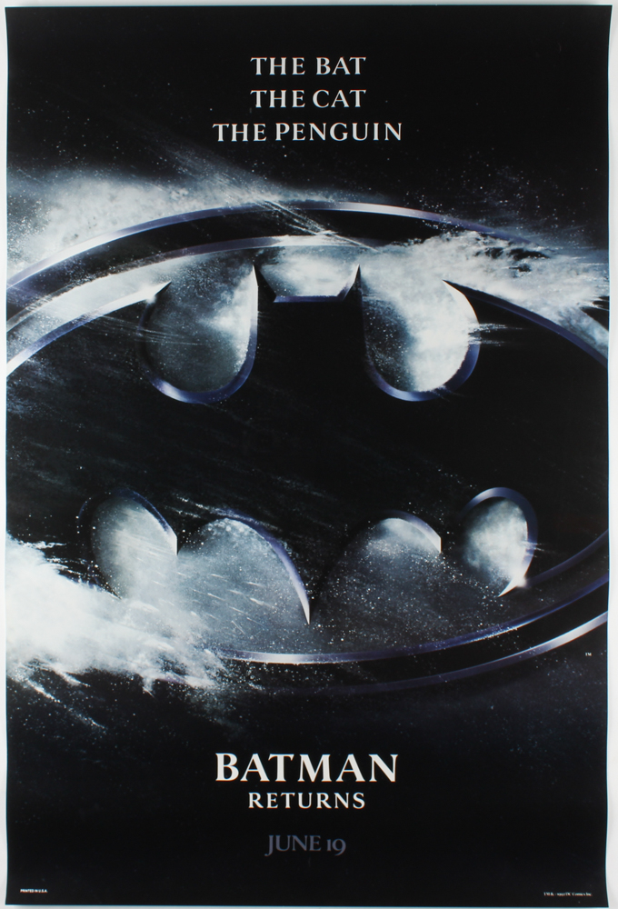 """Batman Returns"" 27x40 Teaser Movie Poster at PristineAuction.com"