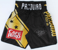 """Manny Pacquiao Signed Fight Model Boxing Trunks Inscribed """"Pacman"""" (Pacquiao COA) (See Description) at PristineAuction.com"""