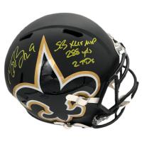 "Drew Brees Signed LE Saints Full-Size AMP Alternate Speed Helmet Inscribed ""SB XLIV MVP"", ""288 YDS"", & ""2 TD's"" (Beckett COA & Brees Hologram) at PristineAuction.com"
