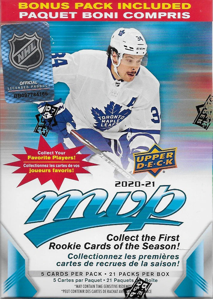 2020-21 Upper Deck MVP NHL Hockey Blaster Box of (105) Cards at PristineAuction.com