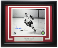 Gordie Howe Signed Red Wings 11x14 Custom Framed Photo Display (Beckett COA) at PristineAuction.com