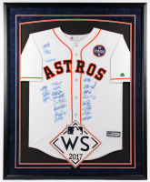 Astros 2017 World Series Champions 34x42 Custom Framed Majestic Jersey Team-Signed (22) with Jose Altuve, Carlos Correa, Derek Fisher, Charlie Morton (JSA LOA) at PristineAuction.com