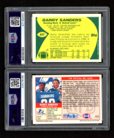 Lot of (2) PSA 8 Graded Barry Sanders Rookie Cards with 1989 Topps Traded #83T RC & 1989 Pro Set #494 RC at PristineAuction.com