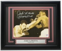 "Jake LaMotta Signed 11x14 Custom Framed Photo Inscribed ""Raging Bull"" (PSA COA) at PristineAuction.com"