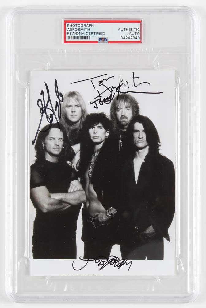 Aerosmith 5x7 Photo Signed By (4) With Joe Perry, Tom Hamilton, Joey Kramer, & Steven Tyler (PSA Encapsulated) at PristineAuction.com