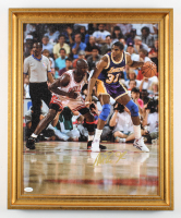 Magic Johnson Signed Lakers 19x23 Custom Framed Photo Display (JSA COA) at PristineAuction.com