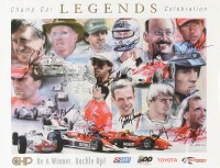 Racing Legends 18x24 Lithograph Signed by (11) with Danny Sullivan, Bobby Unser, Al Unser Jr., Al Unser Sr. (JSA Hologram) at PristineAuction.com