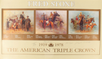 American Triple Crown Winners 21x35.5 Print Signed by (5) with Eddie Arcaro, Fred Stone, John Longden, Ron Turcotte & Jean Cruquet (JSA COA) at PristineAuction.com