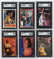 Lot of (6) SGC Graded Kobe Bryant Basketball Cards with 1996-97 SP #134 RC (SGC 8.5), 1996-97 SkyBox Premium #55 RC (SGC 7.5), 1996-97 Topps #138 RC (SGC 7.5), 1996-97 Upper Deck Rookie Exclusives #R10 (SGC 9) at PristineAuction.com
