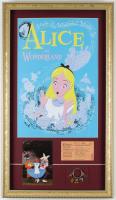 "Vintage Disneyland ""Alice in Wonderland"" 14.75x25.75 Custom Framed Print Display with Vintage Postcard, Ride Ticket & Multi Character Disney Souvenir Key Chain at PristineAuction.com"