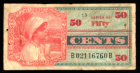 50¢ Fifty Cents Series 661 Military Payment Certificate at PristineAuction.com