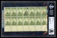 """John Bradley Signed """"Iwo Jima"""" Stamp Sheet With Inscription (Beckett Encapsulated) at PristineAuction.com"""
