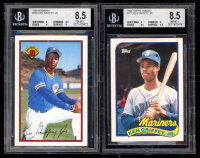 Lot of (2) Ken Griffey Jr. BGS Graded 8.5 Baseball Cards with 1989 Topps Traded #41T RC & 1989 Bowman #220 RC at PristineAuction.com