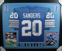 Barry Sanders Signed 35x43 Custom Framed Jersey (Beckett COA) at PristineAuction.com