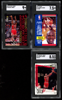 Lot of (3) SGC Graded Michael Jordan Basketball Cards with 1991-92 Fleer #211 All-Star (SGC 7), 1995-96 Collector's Choice Jordan He's Back #M2 (SGC 9) & 1997-98 Collector's Choice #187 (SGC 8.5) at PristineAuction.com