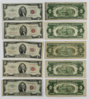 Lot of (10) 1953-63 $2 Two-Dollar Red Seal U.S. Legal Tender Notes at PristineAuction.com