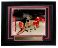 """Gordie Howe Signed Red Wings 8x10 Custom Framed Photo Inscribed """"'9'"""" (PSA COA) at PristineAuction.com"""