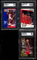 Lot of (3) SGC Graded Michael Jordan Basketball Cards with 1991-92 Fleer #220 (SGC 7), 1997-98 Collector's Choice #195 (SGC 8.5) & 1995-96 SP Jordan Collection #JC17 (SGC 9) at PristineAuction.com