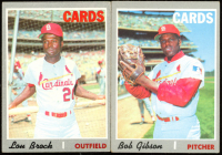 Lot of (2) Cardinals Baseball Cards with Lou Brock 1970 Topps #330 & Bob Gibson 1970 Topps #530 at PristineAuction.com