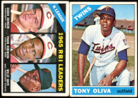 Lot of (2) Baseball Cards with 1966 Topps #219 NL RBI Leaders / Deron Johnson / Frank Robinson / Willie Mays & Tony Oliva 1966 Topps #450 at PristineAuction.com