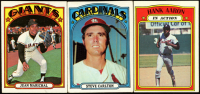 Lot of (3) 1972 Topps Baseball Cards with Juan Marichal #567, Steve Carlton #420 & Hank Aaron #300 IA at PristineAuction.com