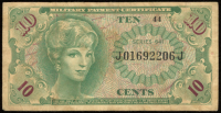 10¢ Ten Cents Series 641 Military Payment Certificate Note (MPC) at PristineAuction.com
