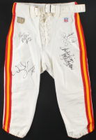 Chiefs Football Pants Team-Signed by (5) with Derrick Thomas, Kimble Ambers, Donnie Edwards, Reggie Tongue, & Andre Rison with Inscription (JSA LOA) at PristineAuction.com