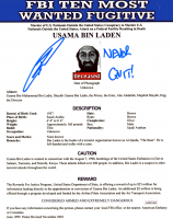 "Robert O'Neill Signed ""FBI's Ten Most Wanted: Usama Bin Laden"" 8x10 Photo Inscribed ""Never Quit!"" (JSA COA) at PristineAuction.com"