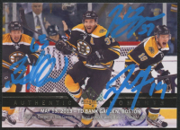 Brad Marchand, Tyler Seguin & Patrice Bergeron Signed 2013-14 UD Authentic Hockey Card (YSMS COA) at PristineAuction.com