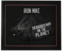 Mike Tyson Signed 32x36 Custom Framed Boxing Trunks DIsplay (JSA COA) at PristineAuction.com