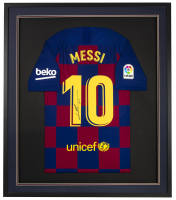 "Lionel Messi Signed 32x36 Custom Framed Jersey Display Inscribed ""Leo"" (Messi COA) at PristineAuction.com"