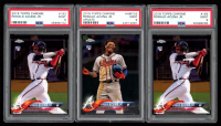 Lot of (3) PSA Graded Ronald Acuna Jr. Baseball Cards with (2) 2018 Topps Chrome #193 RC (PSA 9) and (1) 2018 Topps Chrome Update #HMT25 RC (PSA 9) at PristineAuction.com