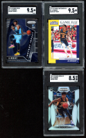 Lot of (3) Ja Morant 2019-20 Panini Basketball Cards with (1) Contenders Draft Picks Game Day Ticket Signatures #2 (SGC 9.5), (1) Prizm Instant Impact #12 (SGC 9.5) & Prizm Draft Picks Prizms Silver #2 (SGC 8.5) at PristineAuction.com