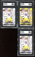 Lot of (3) SGC Graded 10 Joe Burrow 2020 Leaf Draft Touchdown Kings with (2) #85 & (1) Gold #85 at PristineAuction.com