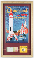 "Disneyland ""Fly TWA Los Angeles"" 15x25 Custom Framed Poster Display with Vintage Flip Book & Vintage Ticket Book at PristineAuction.com"