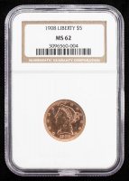 1908 $5 Liberty Head Gold Coin (NGC MS62) at PristineAuction.com