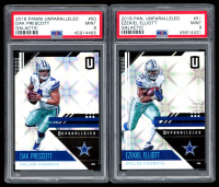 Lot of (2) PSA Graded 9 2018 Panini Unparalleled Galactic Football Cards with #50 Dak Prescott & #51 Ezekiel Elliott at PristineAuction.com