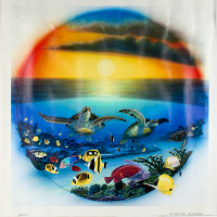 """Wyland Signed """"Sea Turtle Reef"""" Limited Edition 27x27 Giclee on Canvas at PristineAuction.com"""