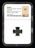 """Biblical """"Widow's Mite"""" 135-37 BC Judaean Prutah of the Maccabean Kings (NGC VG) at PristineAuction.com"""