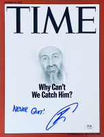 "U.S. Navy Seal Robert O'Neill Signed Osama Bin Laden 9x12 TIME Magazine Cover Photo Inscribed ""Never Quit!"" (PSA COA) at PristineAuction.com"