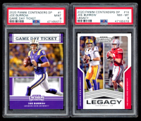 Lot of (2) PSA Graded Joe Burrow 2020 Panini Contenders Draft Picks Football Cards with Game Day Tickets #1 (PSA 9) & Legacy #16 (PSA 8) at PristineAuction.com