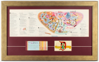 1963 Disneyland Map 16.5x26.5 Custom Framed Display With Decal Souvenir & Ticket Book at PristineAuction.com