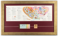 1963 Disneyland Map 16.5x26.5 Custom Framed Display With Souvenir Keychain & Ticket Book at PristineAuction.com