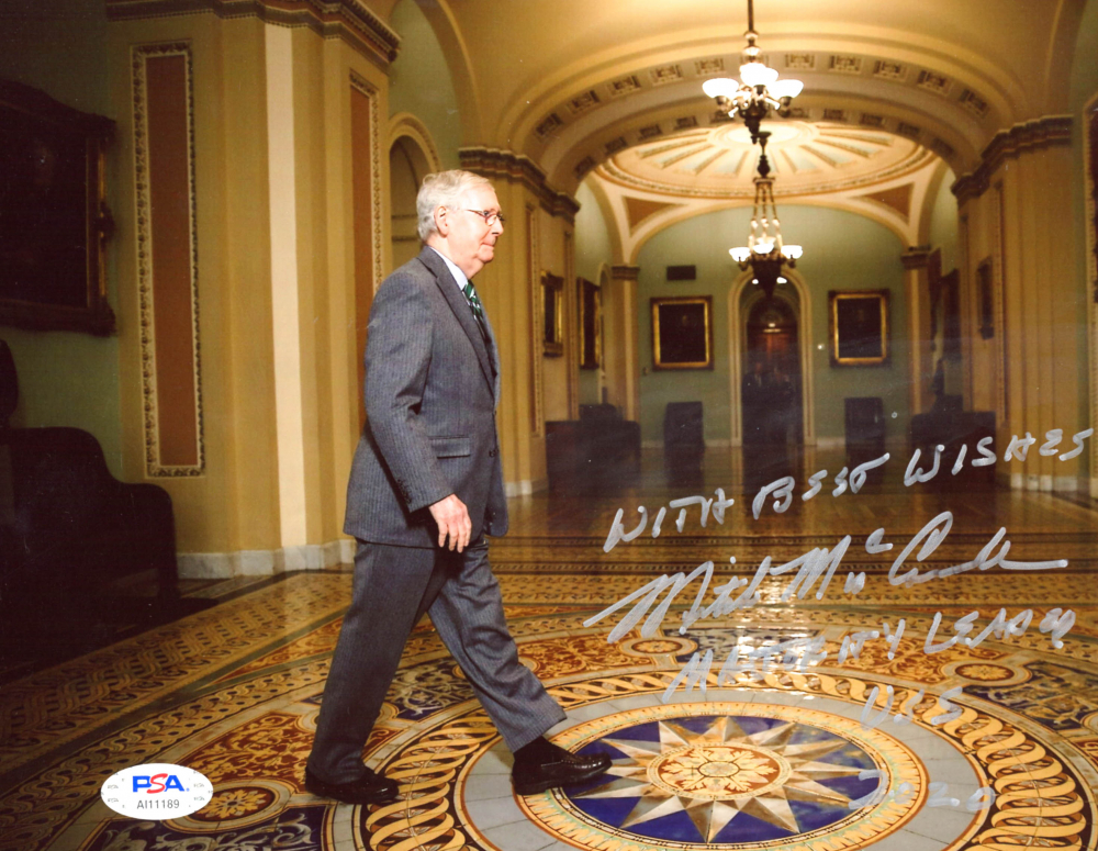 """Mitch McConnell Signed 8x10 Photo Inscribed """"With Best Wishes' & """"Majority Leader USS 2020"""" (PSA Hologram) at PristineAuction.com"""