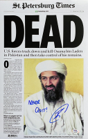 "U.S. Navy Seal Robert O'Neill Signed Osama Bin Laden 11x17 Newspaper Cover Photo Inscribed ""Never Quit!"" (PSA COA) at PristineAuction.com"