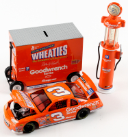Set of (3) Dale Earnhardt 1997 #3 Goodwrench Wheaties Die-Cast Racing Model Items with LE Monte Carlo Car 1:24 Scale Coin Bank, 1:16 Scale Pit Wagon, & 1:16 Scale Gas Pump at PristineAuction.com