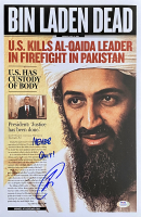 "U.S. Navy Seal Robert J. O'Neill Signed Osama Bin Laden 11x17 Newspaper Cover Photo Inscribed ""Never Quit!"" (PSA COA) at PristineAuction.com"