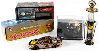 Set of (3) Dale Earnhardt Jr. 1998 #3 GM Goodwrench / Bass Pro Shops Die-Cast Racing Model Items with LE Monte Carlo 1:32 Scale Car, Mini Racing Helmet with Display Case, & 1:16 Scale LE Gas Pump Coin Bank at PristineAuction.com