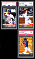 Lot of (3) PSA Graded Pete Alonso 2019 Topps Now Baseball Cards with #705 (PSA 10), Card of the Month #MJUN (PSA 10), & Award Winners Bonus #AWB1 RC (PSA 9) at PristineAuction.com