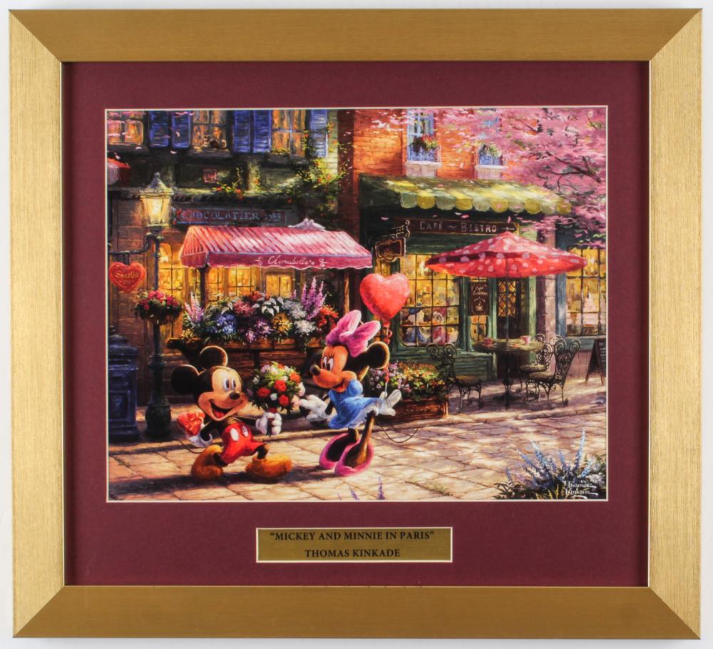 "Thomas Kinkade Walt Disney's ""Mickey & Minnie Mouse in Paris"" 14.5x16 Custom Framed Print Display at PristineAuction.com"